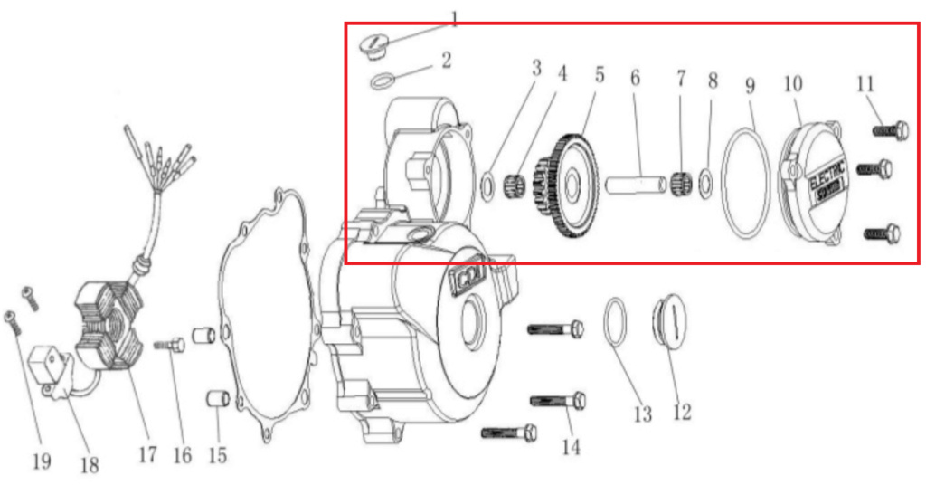 Cómo remover el motor de arranque de una Keeway SUperlight 150. Diagra10