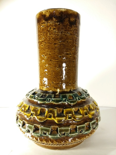 Mustard & Green Vase with Imprinted pattern - Bitossi, Italy  20201133