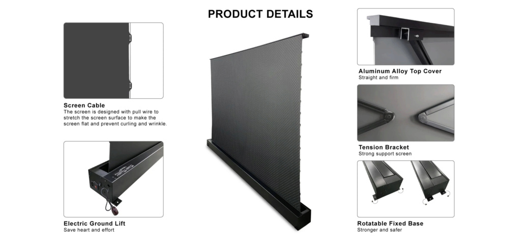 VIVIDSTORM S ALR P Electric Tension Floor Projector Screen With Obsidian Long Throw Ambient Light Rejecting 【For Normal Projector】(Sound Perforated Acoustic Transparent) 11_10010