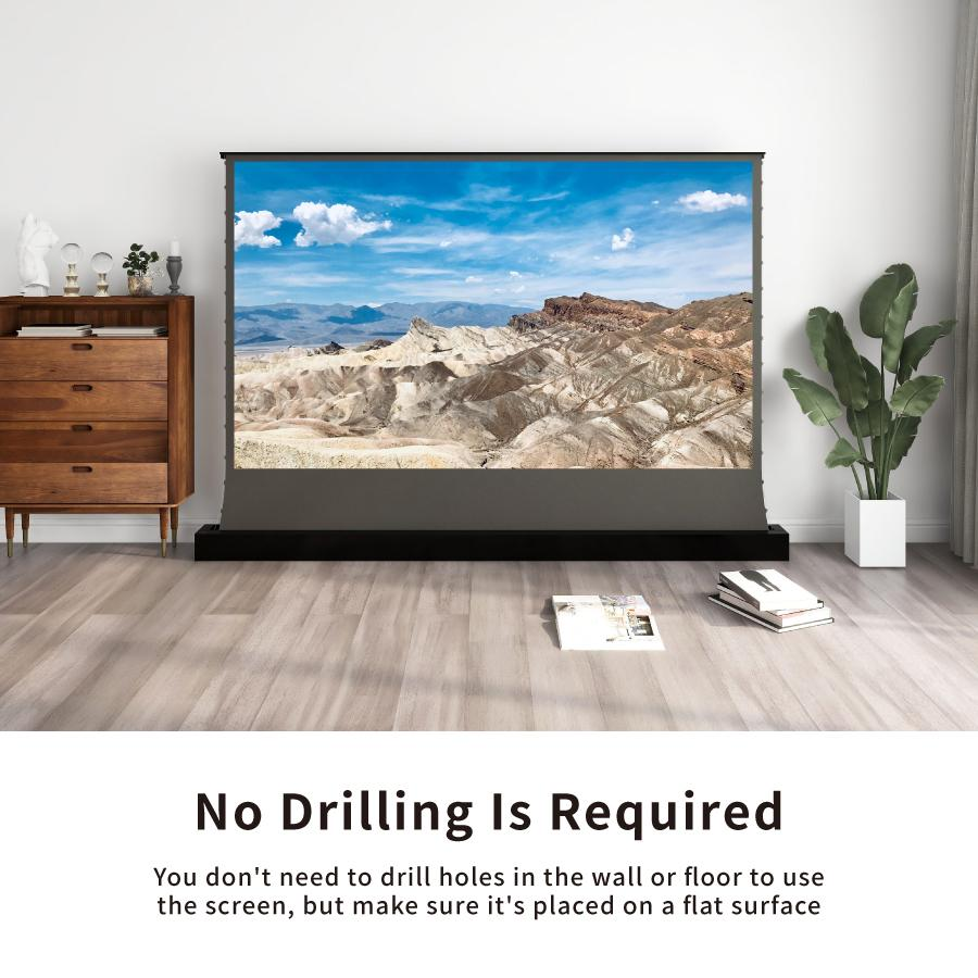 VIVIDSTORM S ALR P Electric Tension Floor Projector Screen With Obsidian Long Throw Ambient Light Rejecting 【For Normal Projector】(Sound Perforated Acoustic Transparent) 1211