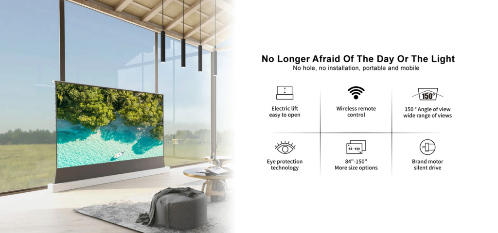 VIVIDSTORM S ALR P Electric Tension Floor Projector Screen With Obsidian Long Throw Ambient Light Rejecting 【For Normal Projector】(Sound Perforated Acoustic Transparent) 2_4ff610