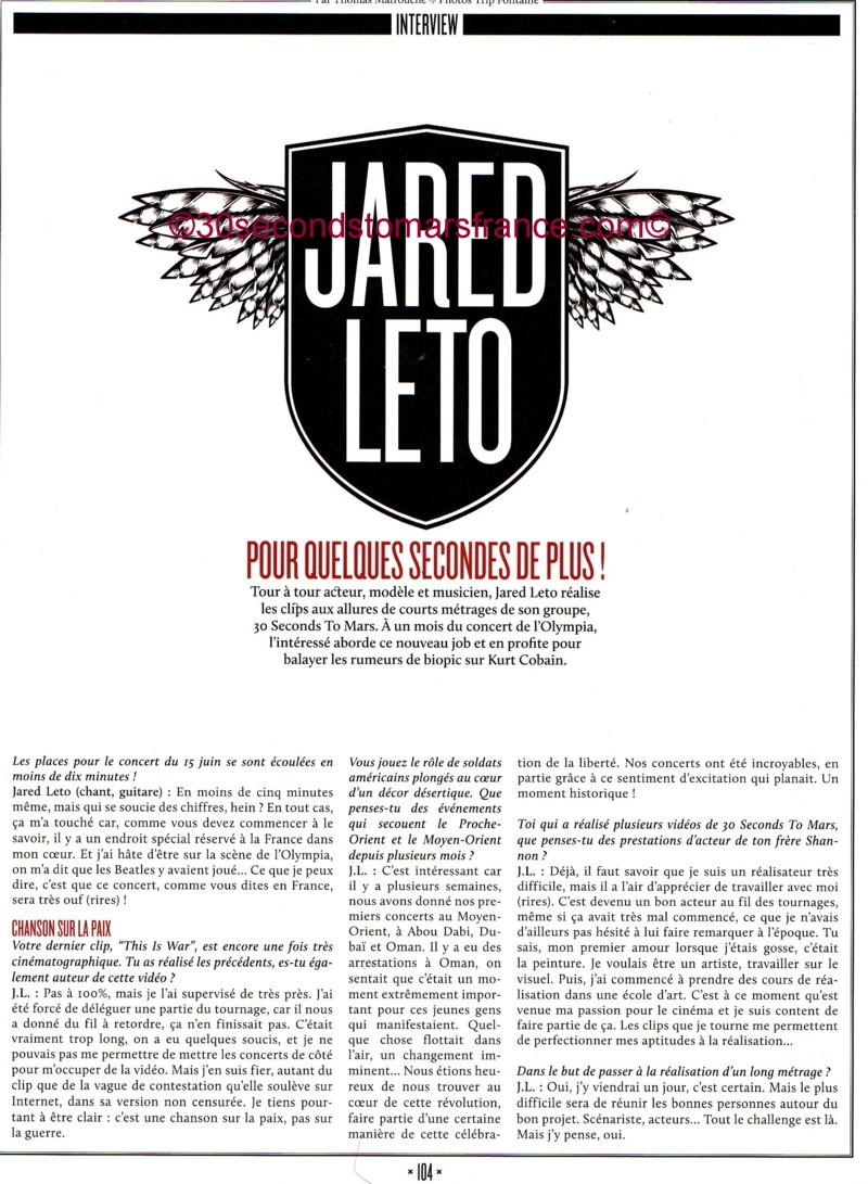 Jared Leto dans le ROCK SOUND FRANCAIS NUMBER 01 ! Rock_s11