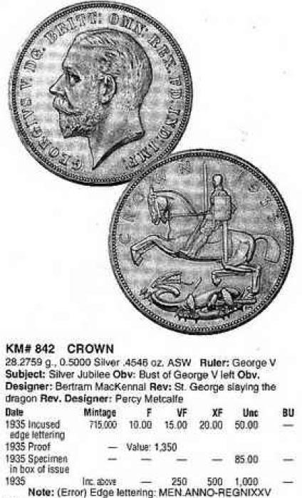Inglaterra, 1 Crown (Jorge V), 1935. Brith10