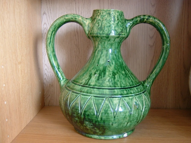Green glazed pots - Belgium Art Pottery (not Farnham) 00117