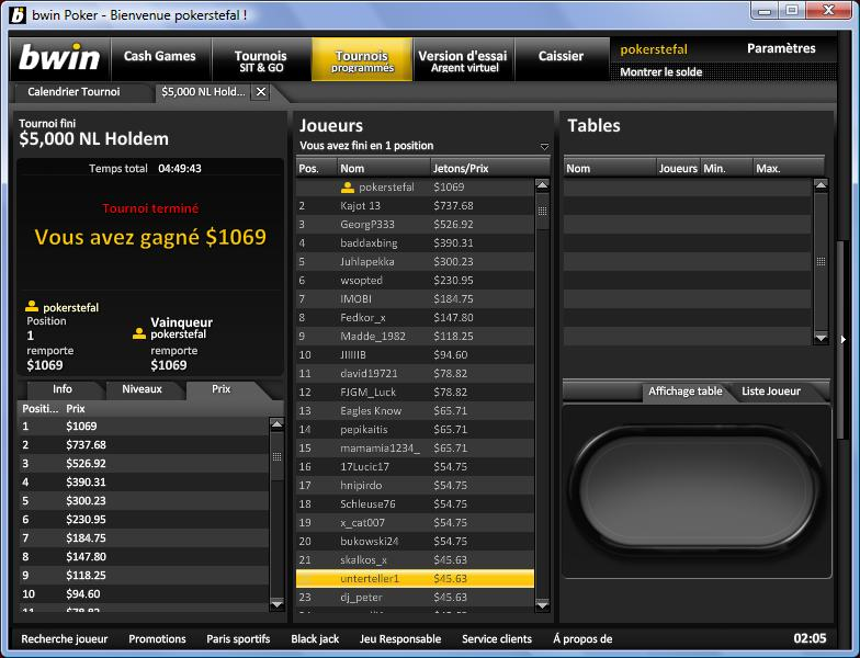 Win dans un 22$ 20110511