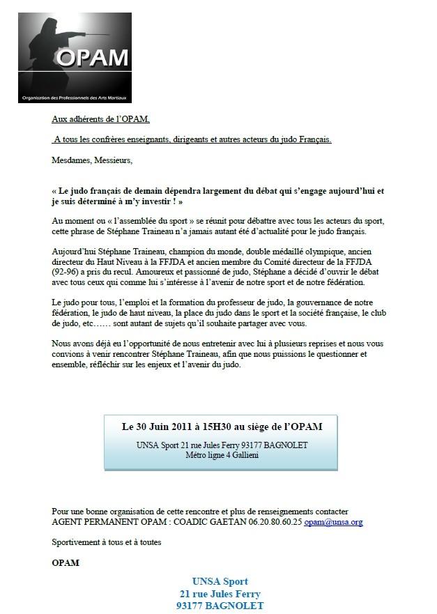 Stéphane Traineau débat avec l'OPAM sur l'avenir du judo Français. Opam_e10
