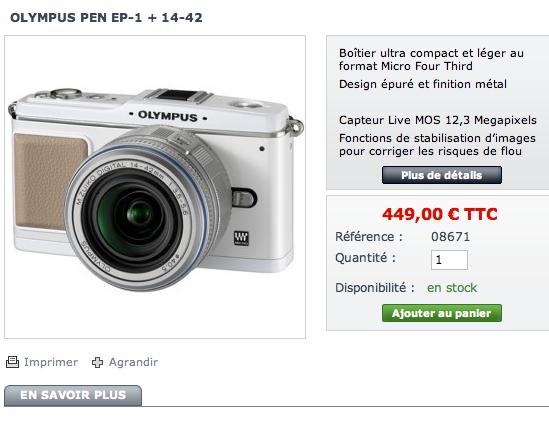 Les PEN E-P1 à moins de 450  euros chez ShopPhoto Captur25