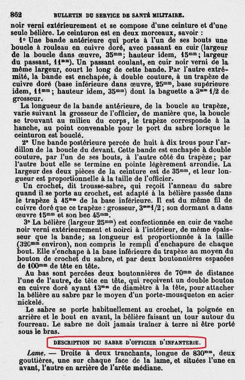 Longueur des lames des sabres 1882 off Infanterie. 1882_110