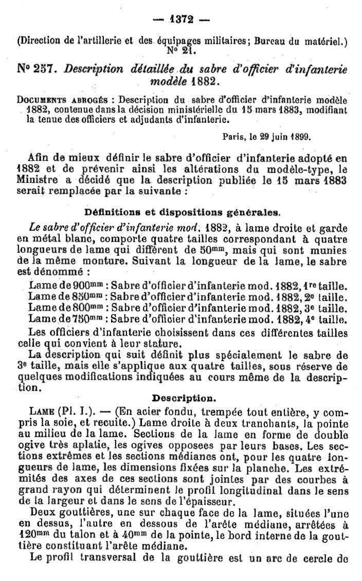Longueur des lames des sabres 1882 off Infanterie. 1882_210