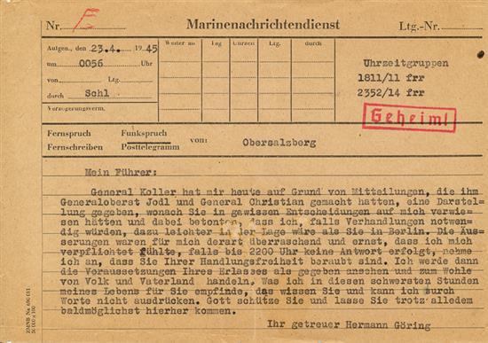 "Führerbunker et ""télégramme Goering"". Herman10"