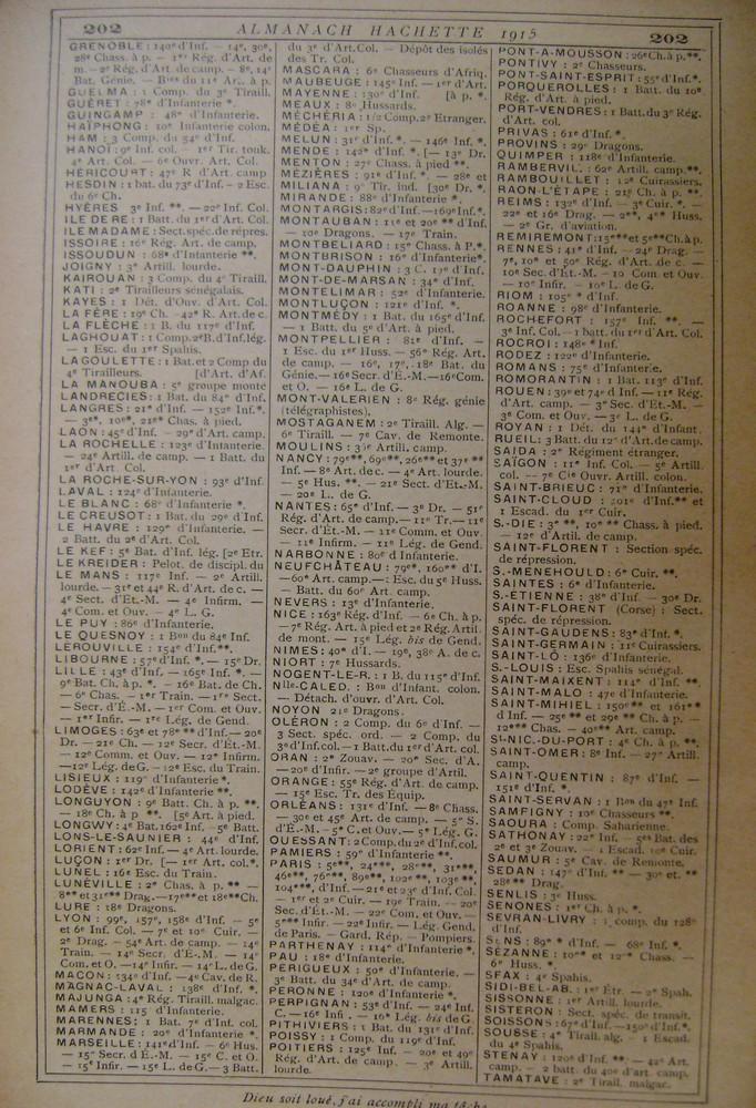 Localisation des régiments, et navires en service en 1914 Villes12