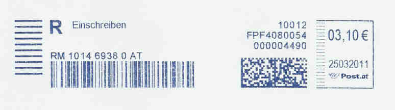 Freistempel mit Matrix-Code aus Östererreich Datama10