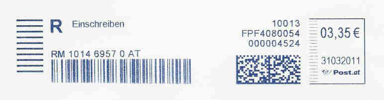 Freistempel mit Matrix-Code aus Östererreich Datatm10
