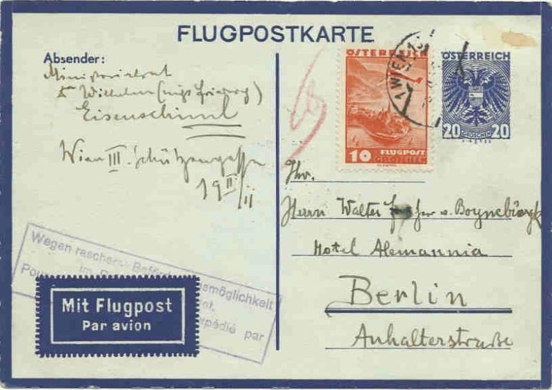 Flugpostkarten Erste Republik Flugpo10