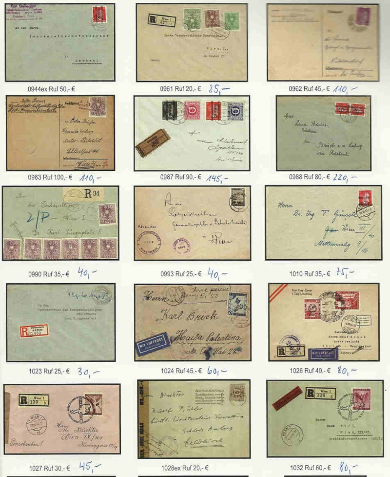 MARKET PRICE SITUATION of Modern Austrian Postal History . Covers from 1945.  Jurane10