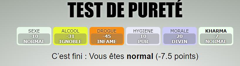 Le test de pureté  Tdp10