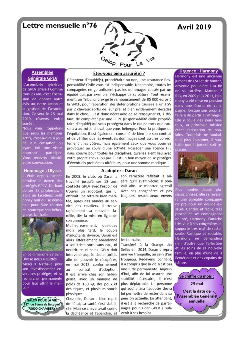 GPLV - Lettre Mensuelle n°76 - Avril 2019 Nl_avr15