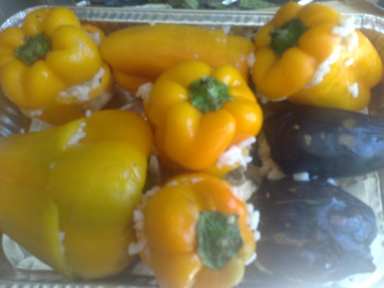Peperoni e melanzane ripieni di riso Pepero13