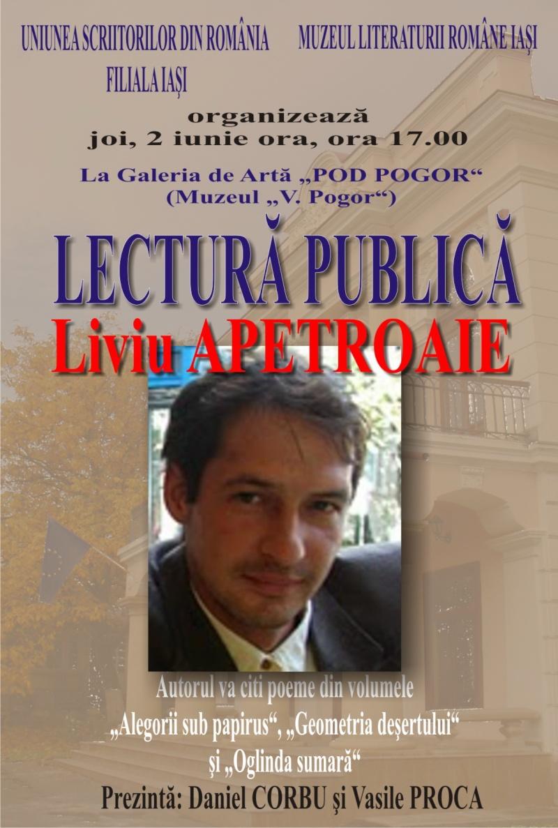 Cenaclul Junimea Noua-Sedinta Nr 10.Lectura publica-Liviu Apetroaie-02 iunie 2011 Afis_l10