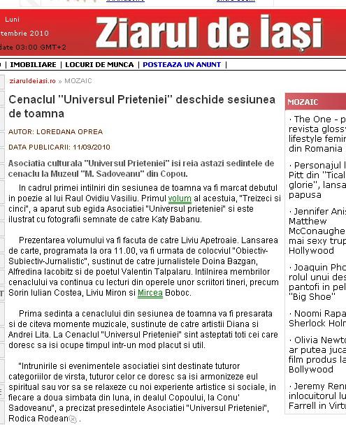 Ecouri in presa despre  actiunile organizate de Asociatia Universul Prieteniei Clip_611