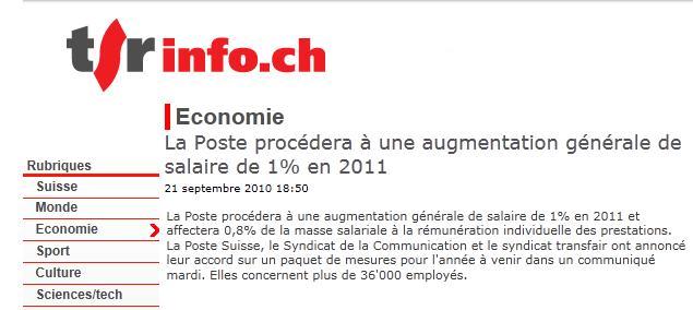 la Poste procedera à une augmentation generale de salaire de 1%... Suisse10