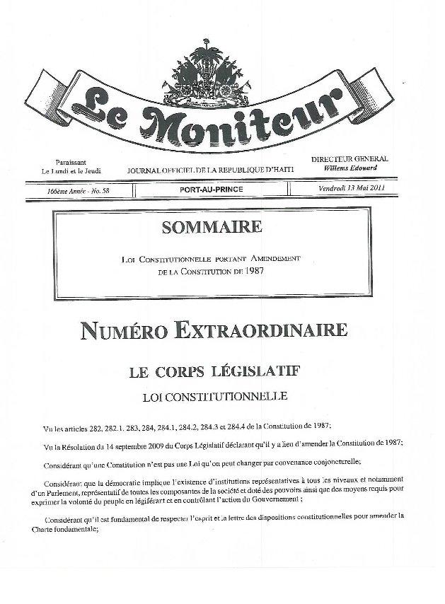 Haïti/Constitution: La Constitution amendée publiée officiellement dans le Monit Le_mon10