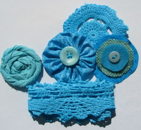 Aqua kit of doiley, trim and flowers Img_3331