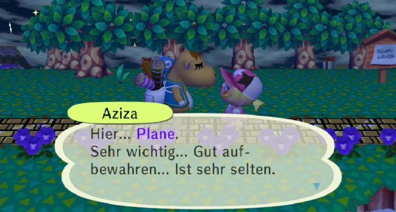 Ich habe von Aziza einen/eine ... erhalten. Plane10