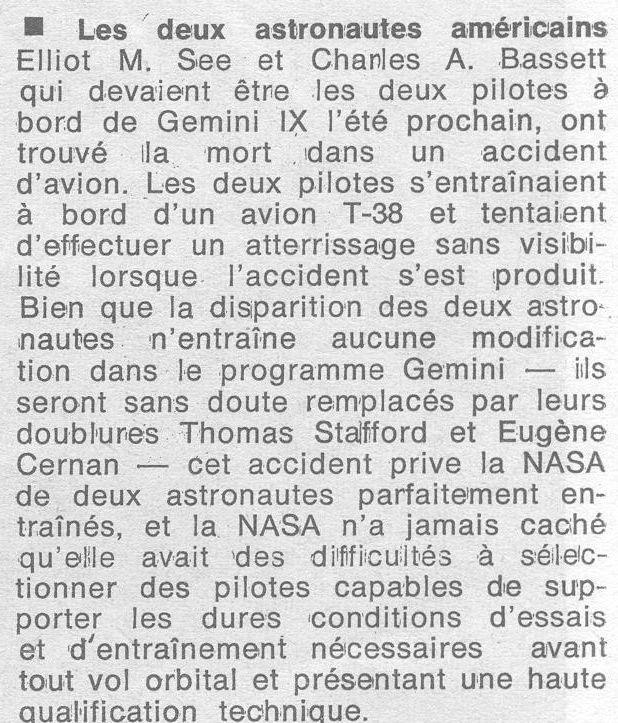 28 février 1966 décès de Charles Bassett et Elliot See 66030515