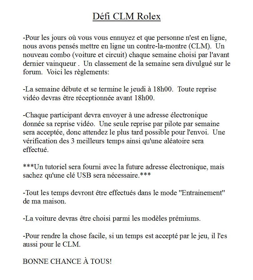 Règlements CLM Rolex Clmreg10