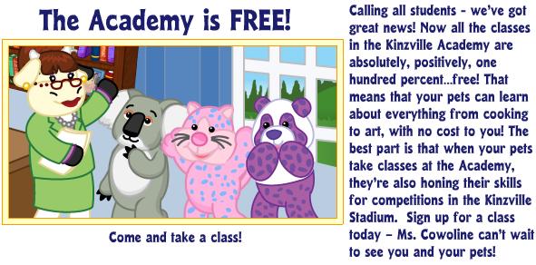 Kinzville Academy Classes are now Free! Lsdlj10