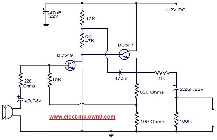 Pre amplifier using transistor Dynami10