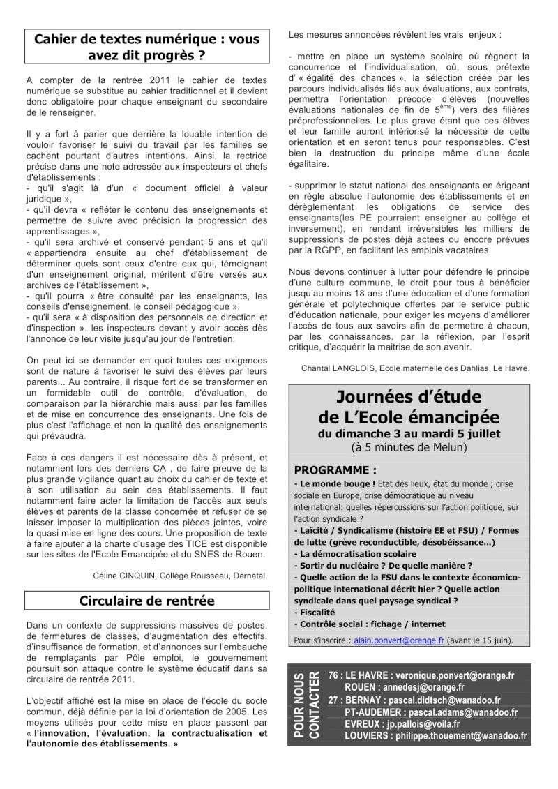 Ecole émancipée journal n°70 de 06/2011 12_bul10