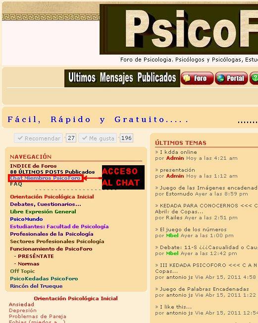 """Cómo Acceder al """"Chat para miembros de PsicoForo Málaga"""" Acceso10"""