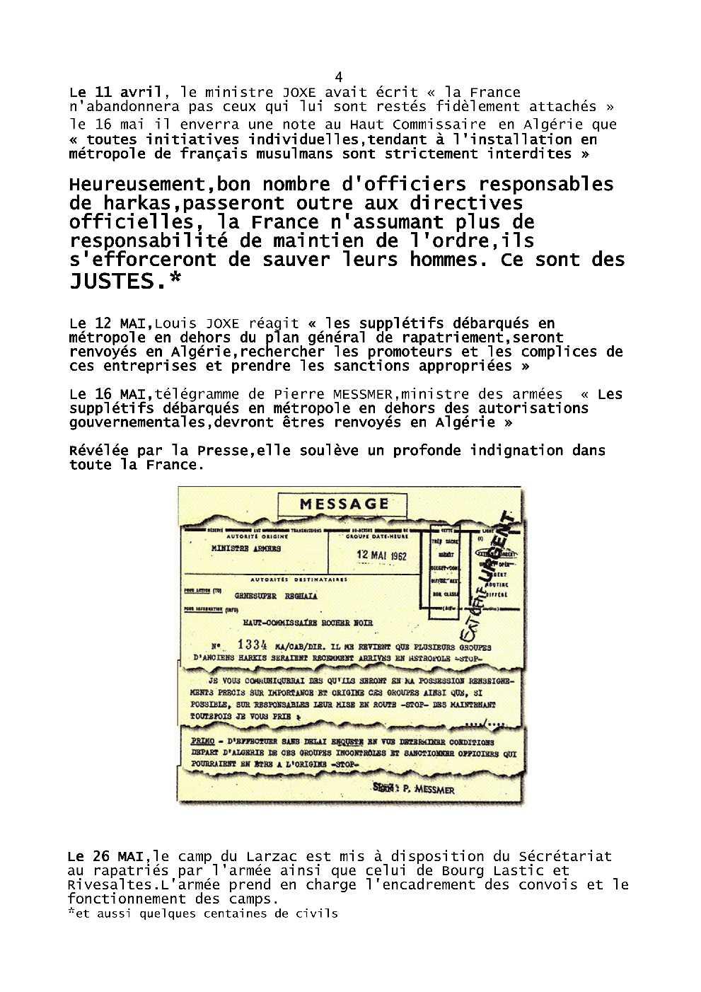 CONFERENCE HARKIS et JUSTES  SUJET Harkis62