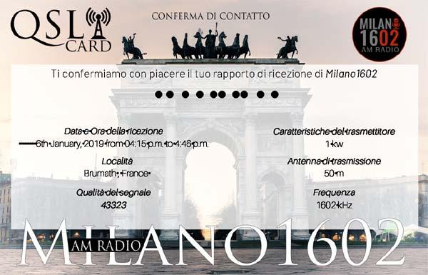 eQSL de radio Milano Milano10