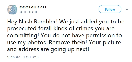 Becky McGee/Oootah Scam-A-Thon Issues a Warning to Nash Rambler!!!  10/1/18 2018-210