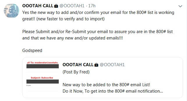 Becky McGee/Oootah Wants YOUR Money & YOUR Email!  10/17/18 2018-288