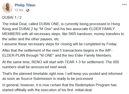 Philip Tilton - The Redemption Plan has Started!  10/31/18 2018-397