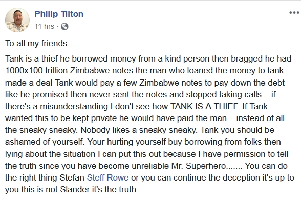 Philip Tilton Says Steffen Rowe/TANK is a THIEF!!!  11/10/18 2018-475
