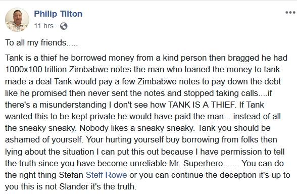 Tank - Philip Tilton Says Steffen Rowe/TANK is a THIEF!!!  11/10/18 2018-475