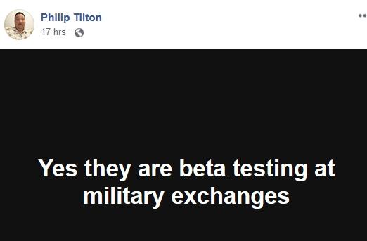 Philip Tilton - Beta Testing at Military Exchanges!  11/17/18 2018-522