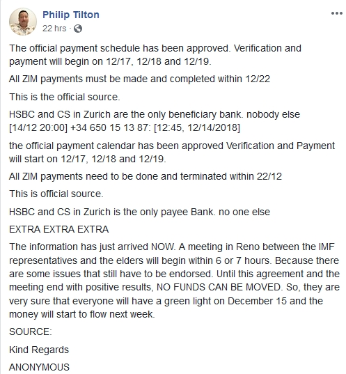 Philip Tilton - Official Payment Schedule!  12/16/18 2018-706