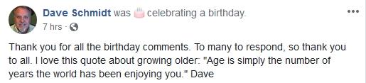 "Happy Birthday to Dave ""the Douchebag"" Schmidt!   4/7/19 2019-483"
