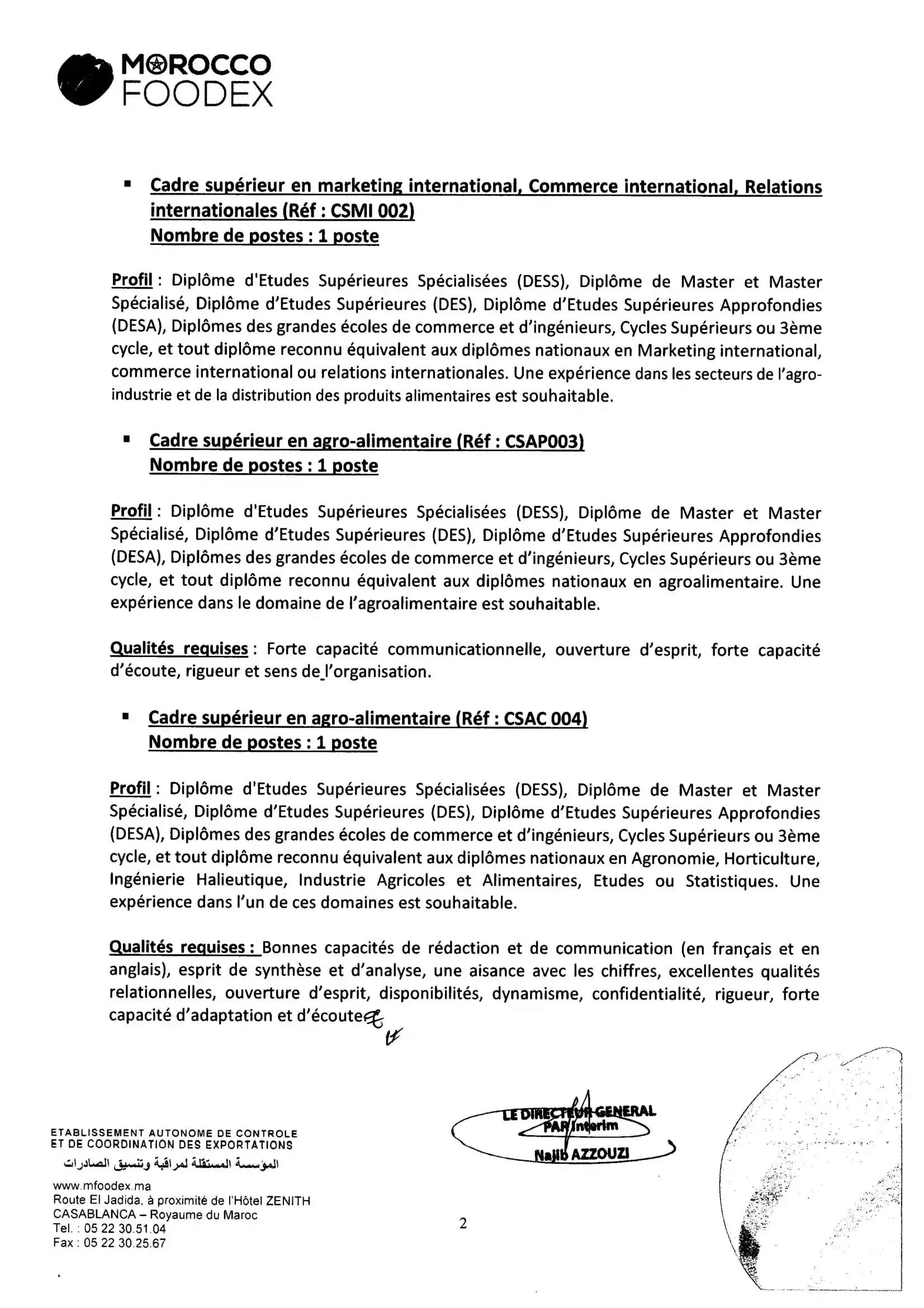 المؤسسة المستقلة لمراقبة وتنسيق الصادرات مباراة توظيف 12 منصب في عدة تخصصات آخر أجل 28 اكتوبر 2020 Avis-c16