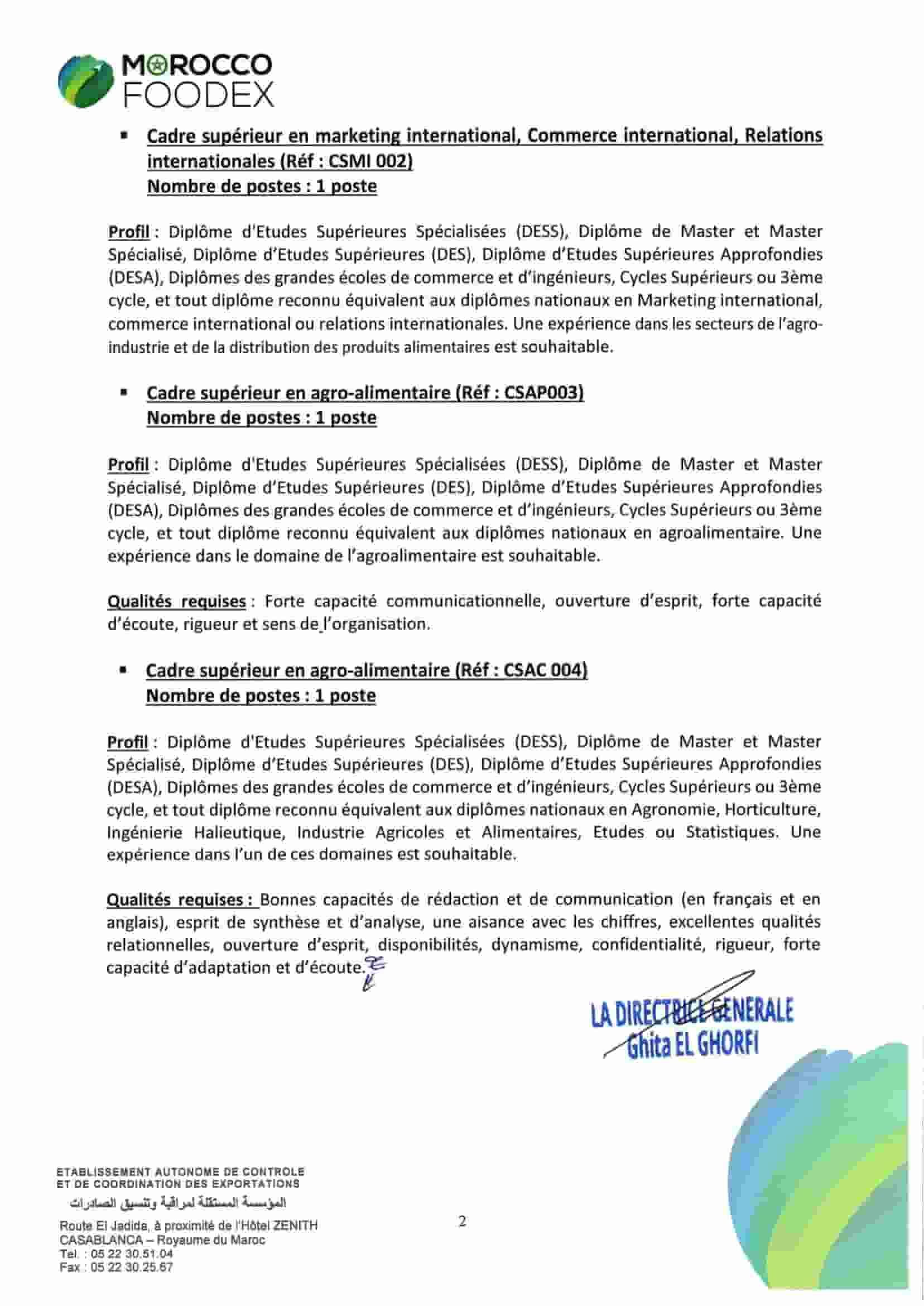 المؤسسة المستقلة لمراقبة وتنسيق الصادرات مباراة توظيف 13 منصب في مختلف الدرجات و التخصصات اخر اجل 18 نونبر 2020 Avis-c20