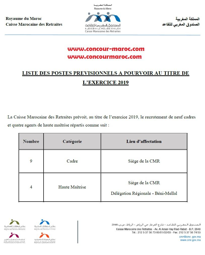 الصندوق المغربي للتقاعد : المناصب المالية المخصصة للتوظيف برسم سنة 2019 تقاعد   Cmr_po10