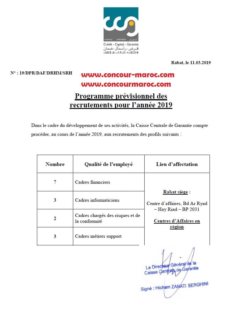 صندوق الضمان المركزي : مناصب التوظيف المقترحة للتباري برسم سنة 2019 Concou59