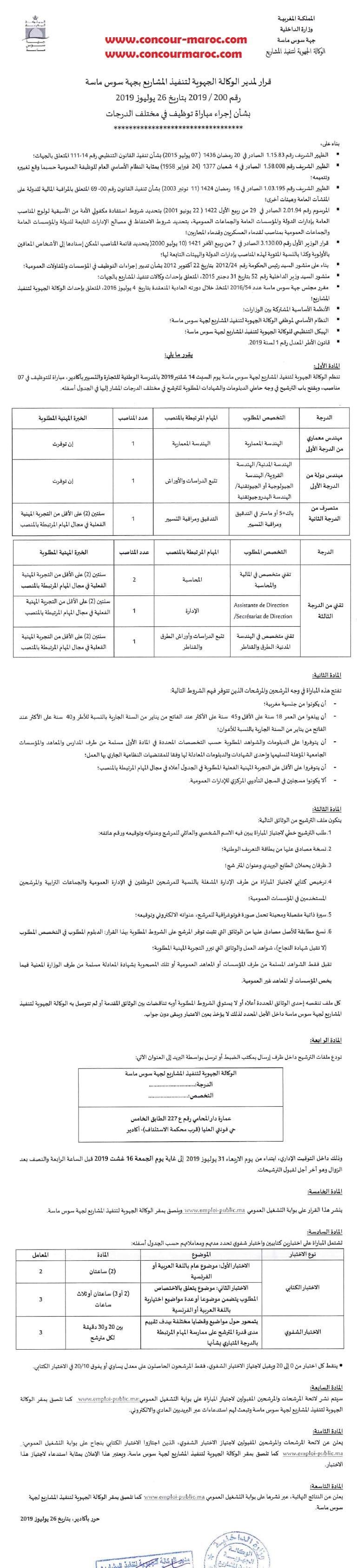 الوكالة الجهوية لتنفيذ المشاريع لجهة سوس ماسة : مباراة لتوظيف 07 مناصب في عدة درجات آخر أجل 16 غشت 2019 Concou81