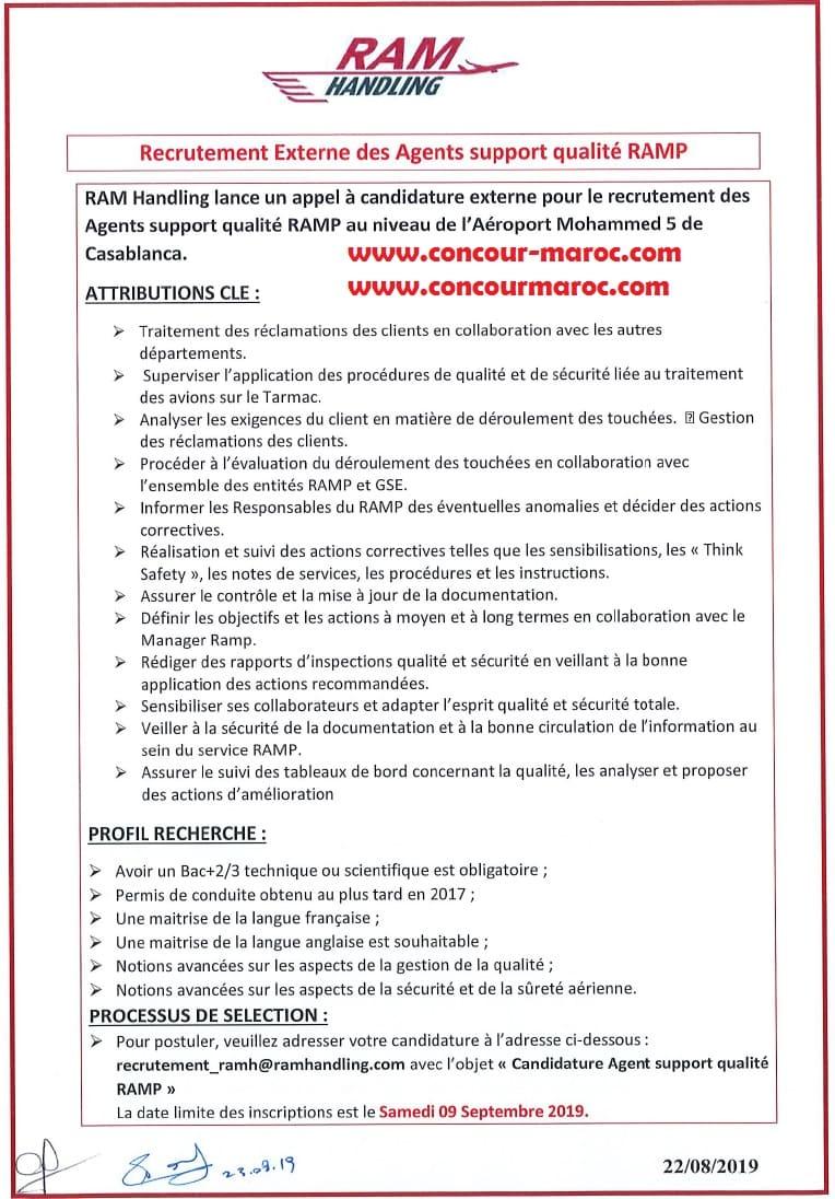رام هندلينغ التابعة للخطوط الملكية المغربية مباراة توظيف 04 مناصب بالبكالوريا+2 او +3 مع رخصة السياقة اخر اجل 9 شتنبر 2019 Concou85